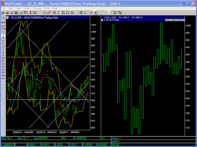Spot gold 2 day swing chart 15 May 2009