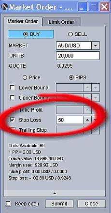 Stop loss order with OandaFX platform