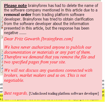 Undisclosed trading platform software developer demands name removal