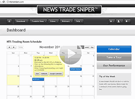 Forex news trading software News Trade Sniper dashboard