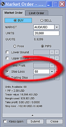 Stop loss order with OandaFX platform